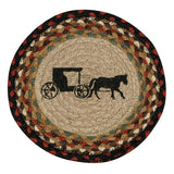 "Amish Buggy 10"" Round Braided Jute Trivet Set of 2 #80-319AB"