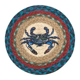 "Blue Crab 10"" Round Braided Jute Trivet Set of 2 #80-359BC"