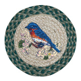 "Blue Bird 10"" Round Braided Jute Trivet Set of 2 #80-365BB"