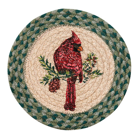 "Cardinal Bird 10"" Round Braided Jute Trivet Set of 2 #80-365C"