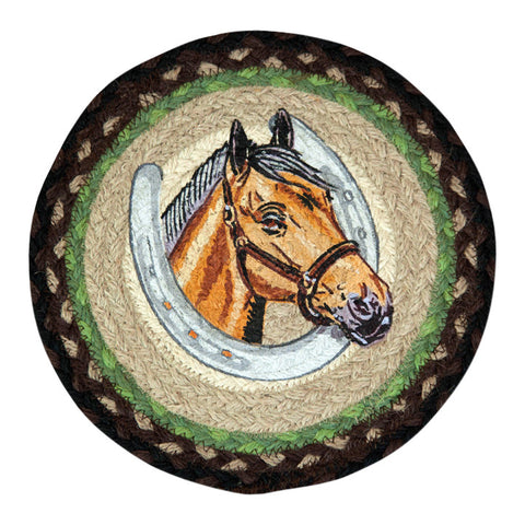 "Horse Portrait and Horse Shoe 10"" Round Braided Jute Trivet Set of 2 #80-383HP"