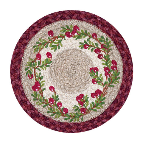"Cranberries 10"" Round Braided Jute Trivet Set of 2 #80-390C"