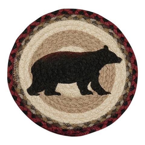 "Cabin Bear 10"" Round Braided Jute Trivet Set of 2 #80-395CB"