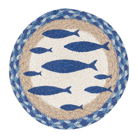 "Fish 10"" Round Braided Jute Trivet 80-443F"