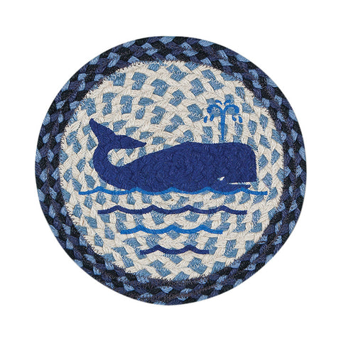 "Whale 10"" Round Braided Jute Trivet Set of 2 #80-443W"