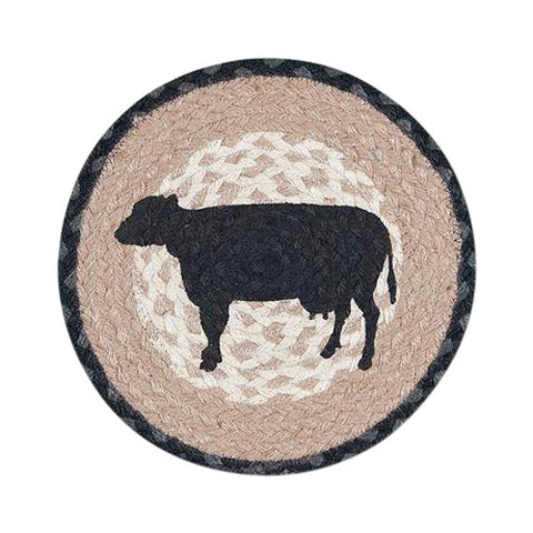 "Cow Silhouette 10"" Round Braided Jute Trivet Set of 2 #80-459CS"