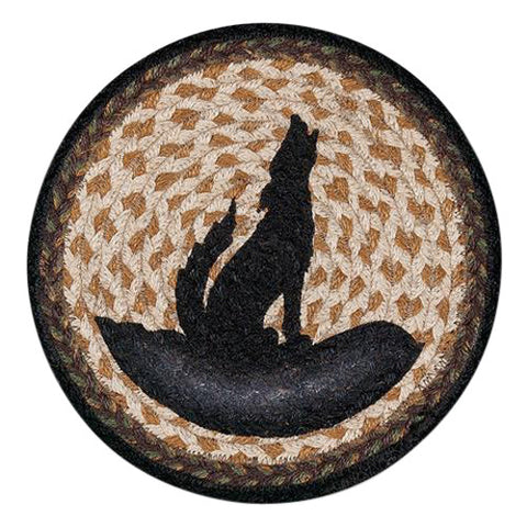 "Coyote Silhouette 10"" Round Braided Jute Trivet Set of 2 #80-469CS"