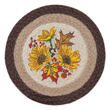 "Autumn Sunflowers 10"" Round Braided Jute Trivet Set of 2 #80-472AS"