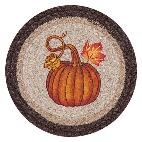 "Pumpkin and Autumn Leaves 10"" Round Braided Jute Trivet Set of 2 #80-472PA"