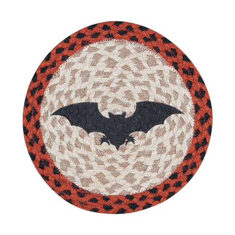"Bat 10"" Round Braided Jute Trivet 80-503B"