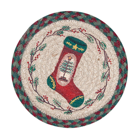 "Christmas Stocking 10"" Round Braided Jute Trivet Set of 2 #80-508FT"