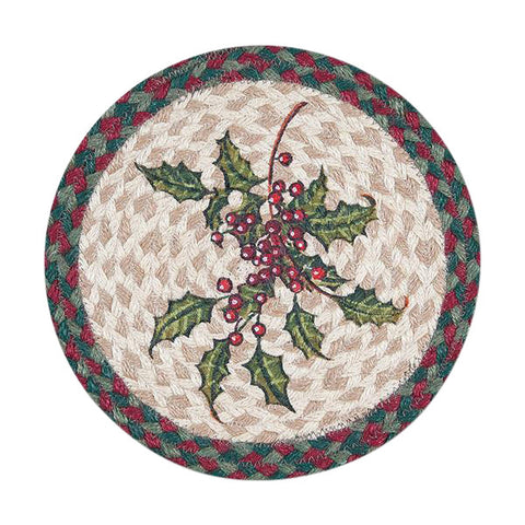 "Holly and Berries 10"" Round Braided Jute Trivet Set of 2 #80-508H"