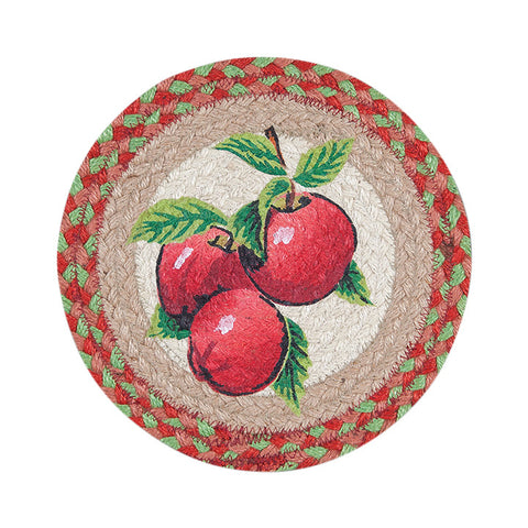 "Red Apples 10"" Round Braided Jute Trivet 80-514A"