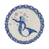 "Blue Mermaid 10"" Round Braided Jute Trivet Set of 2 #80-527BM"