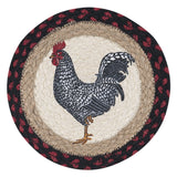 "Black and White Rooster 10"" Round Braided Jute Trivet 80-602BWR"