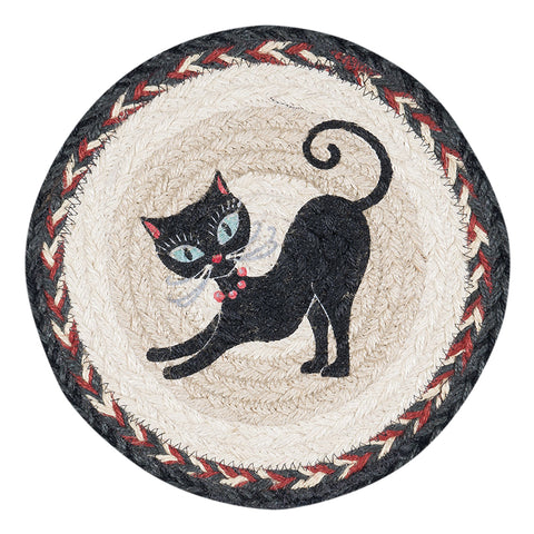 "Crazy Cat with Red Beads 10"" Round Braided Jute Trivet 80-9-238CRB"