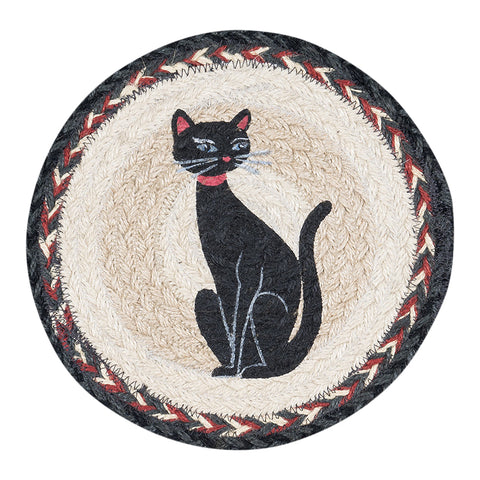 "Crazy Cat with Red Ribbon 10"" Round Braided Jute Trivet 80-9-238CRR"