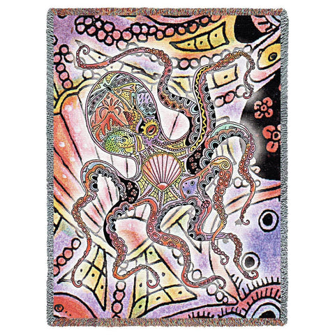 Octopus by Sue Coccia Art Tapestry Throw