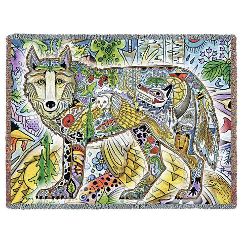 Wolf by Sue Coccia Art Tapestry Throw