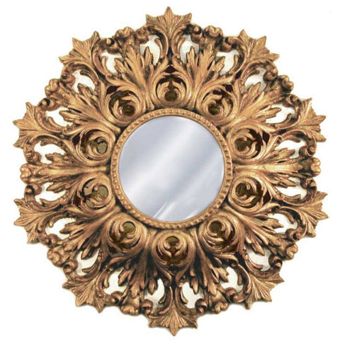 Rococo Wall Mirror Antique Reproduction, Antique Gold Color Finish