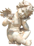 Winged Cherub Angel Holding Bird Statue in 60 Colors