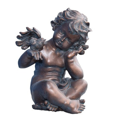 Winged Cherub Angel Holding Bird Statue in Antiqued Copper