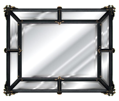 Provincial Wall Mirror Antique Reproduction in Black Gold Silver Color Finish