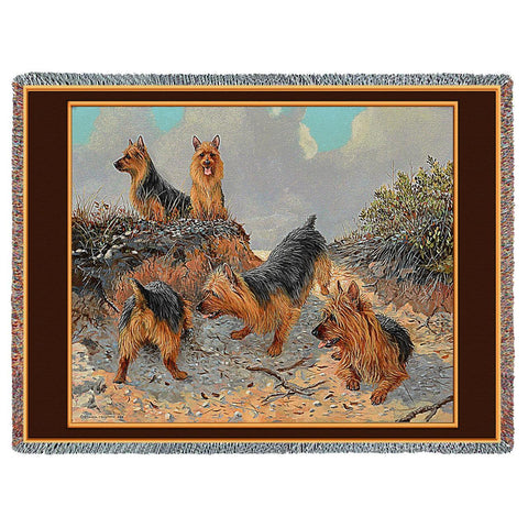 Aussie Dogs Art Tapestry Throw