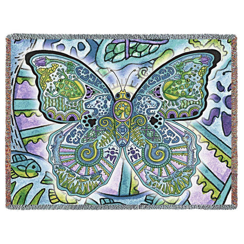 Blue Morpho Butterfly by Sue Coccia Art Tapestry Throw