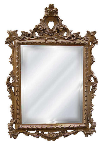 French Inspired Frame Wall Mirror Antique Reproduction, Antique Gold Color Finish
