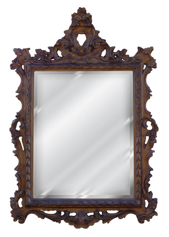 French Inspired Frame Wall Mirror Antique Reproduction, Walnut Color Finish