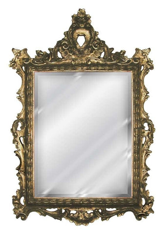 French Inspired Frame Wall Mirror Antique Reproduction, Tarnished Gold Color Finish