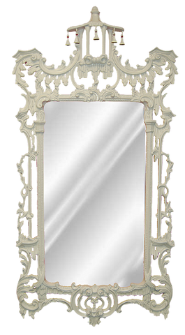 Ornate Leaf Wall Mirror Antique Reproduction, Bright White Color Finish