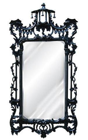 Ornate Leaf Wall Mirror Antique Reproduction, Gloss Black Color Finish