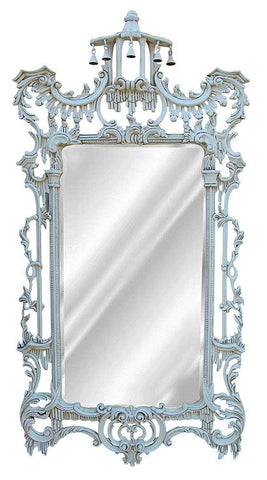 Ornate Leaf Wall Mirror Antique Reproduction, Old World White Color Finish