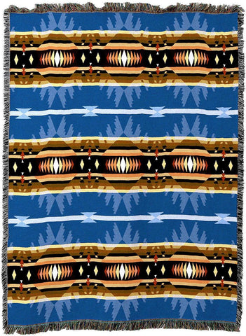 Cimarron Blue Southwestern Inspired Woven Art Tapestry Throw