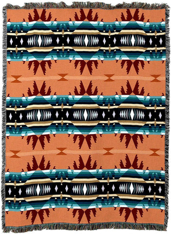 Cimarron Agate Southwestern Inspired Woven Art Tapestry Throw