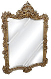 Ornate Shell Top Wall Mirror Antique Reproduction, Gold Leaf Color Finish