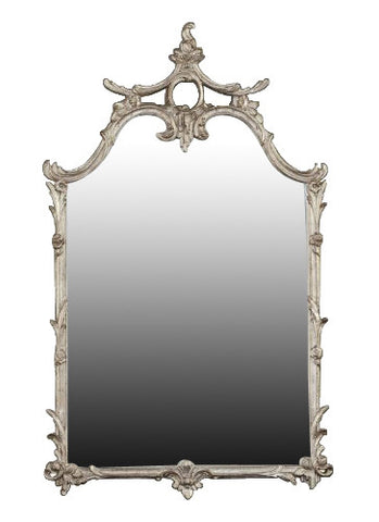 Asian Influence Wall Mirror Antique Reproduction, Shimmer Color Finish
