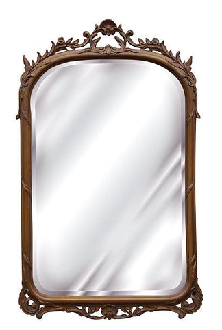 Petite Shell & Elegant Leaf Garland Wall Mirror Antique Reproduction, Bronze Color Finish