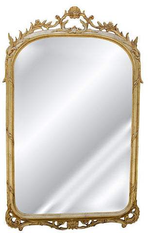 Petite Shell & Elegant Leaf Garland Wall Mirror Antique Reproduction, Gold Leaf Color Finish