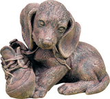 Puppy with Shoe Key Safe Outdoor Statue in 60 Colors