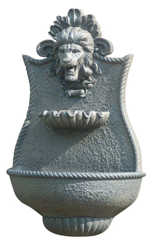 Medieval Lion Outdoor Wall Water Fountain in 60 Colors