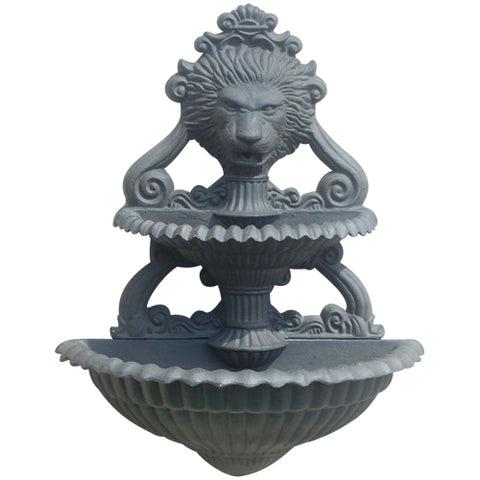 Lion Head 2-Tiered Outdoor Wall Water Fountain in 60 Colors
