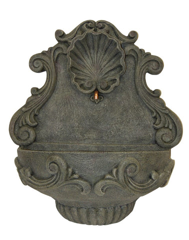 Shell Motif and Ornate Acanthus Leaf Outdoor Wall Water Fountain in 60 Colors