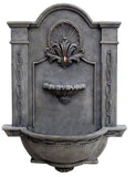 Elegant Courtyard Outdoor Wall Water Fountain, Wrought Iron Color Finish