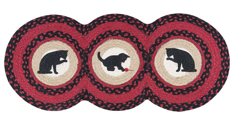 "Cat and Kitten 15""x36"" Tri Circle Jute Table Runner 95-238CK"