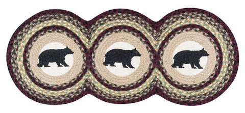 "Cabin Bear 15""x36"" Tri Circle Jute Table Runner 95-395CB"