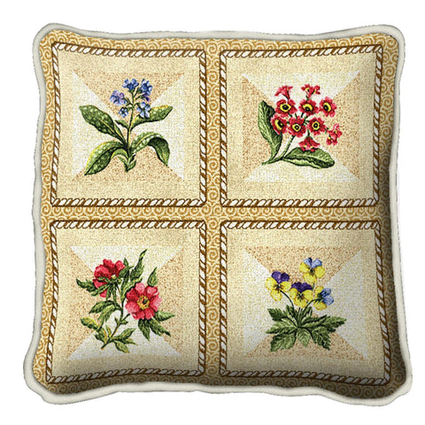 French Floral Art Tapestry Pillow