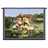 Golden Retriever Dog with Puppies Art Tapestry Wall Hanging